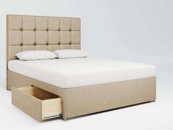 Mayfair Upholstered Divan Bed - Brushed Cotton - Camel